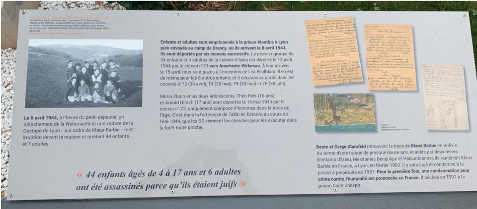 Second panel beside the Stèle à la mémoire des 44 enfants juifs d'Izieu (Plaque in memory of the 44 Jewish children of Izieu).