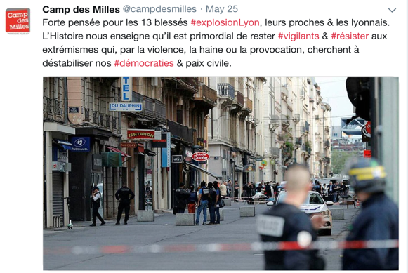 Screenshot of a tweet sent out by the Site-Mémorial du Camp des Milles condemning an act of intolerance and hatred.